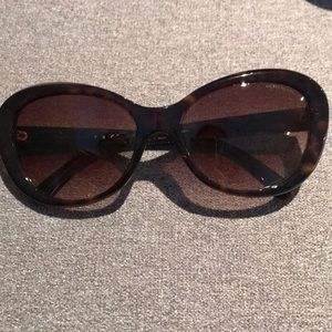 {Chanel} Brown Tortoise camellia flower sunglasses